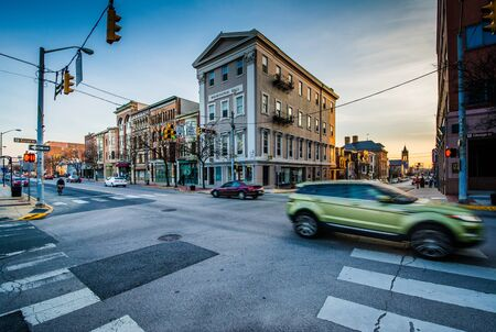 king street: Intersection of George and King Street at sunset, in York, Pennsylvania. Editorial