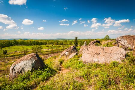 Path and rocks on Little Round Top, in Gettysburg, Pennsylvania. Stock Photo