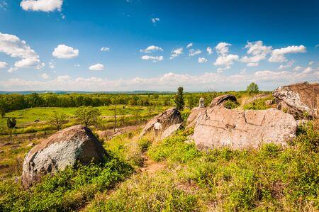 gettysburg: Path and rocks on Little Round Top, in Gettysburg, Pennsylvania. Stock Photo