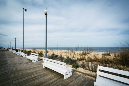 Benches on the boardwalk in Rehoboth Beach, Delaware.