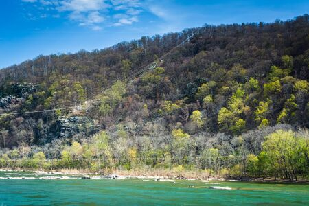 west virginia trees: View of a mountain and the Potomac River, in Harpers Ferry, West Virginia. Stock Photo