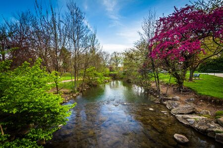 frederick: Carroll Creek at Baker Park, in Frederick, Maryland. Stock Photo