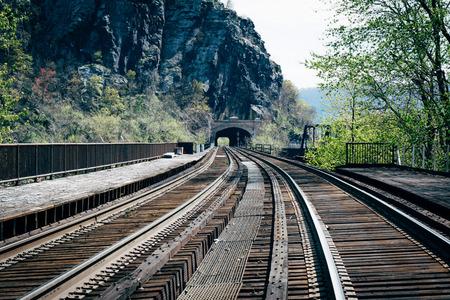 west virginia trees: Railroad tracks in Harpers Ferry, West Virginia.