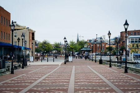 fells: Pier and buildings in Fells Point, Baltimore, Maryland.