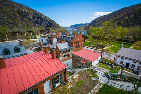 historic buildings: View of historic buildings in Harpers Ferry, West Virginia. Stock Photo
