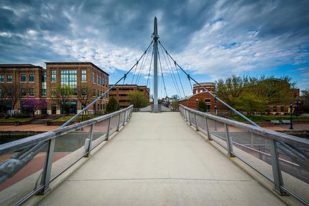 frederick: Modern bridge at Carroll Creek Linear Park, in Frederick, Maryland.