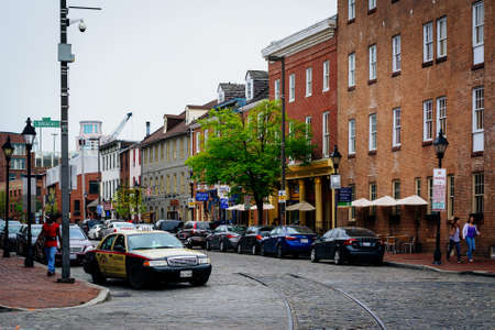 fells: Cobblestone street in Fells Point, Baltimore, Maryland.