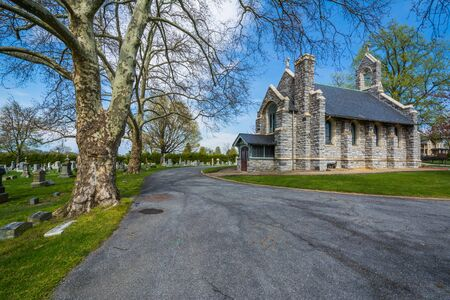 frederick: Chapel and road at Mount Olivet Cemetery in Frederick, Maryland.