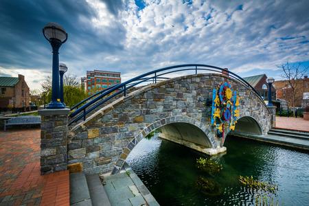 frederick: Stone bridge over Carroll Creek, in Frederick, Maryland.