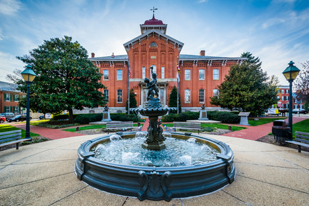 frederick: Fountain in front of City Hall, in Frederick, Maryland. Stock Photo