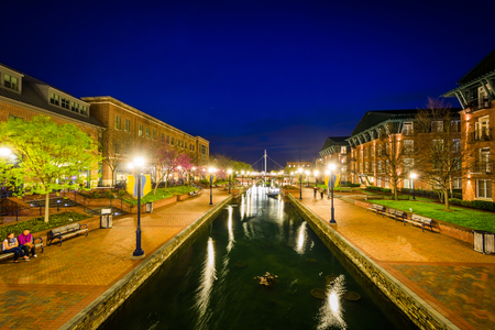 View of Carroll Creek at night, in Frederick, Maryland. Stock Photo