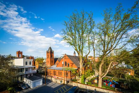 frederick: View of trees and buildings in Frederick, Maryland. Stock Photo