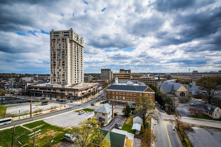maryland: View of buildings in Towson, Maryland.