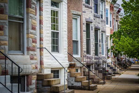 row of houses: Repeating pattern of row houses in Hampden, Baltimore, Maryland.