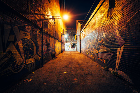 dark city: Graffiti Alley at night, in the Fashion District of Toronto, Ontario.