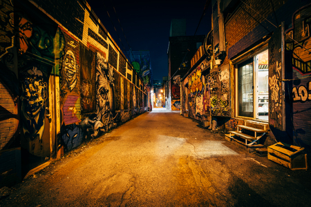 Graffiti Alley at night, in the Fashion District of Toronto, Ontario. Editorial