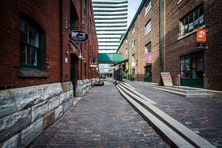 historic district: Stone streets and buildings in the Distillery Historic District, In Toronto, Ontario.