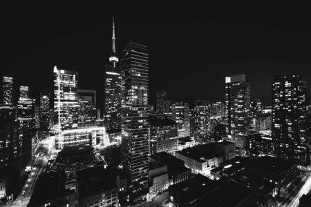 elevation: View of modern buildings at night in downtown Toronto, Ontario.
