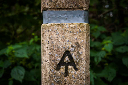 appalachian: Appalachian Trail marker in Shenandoah National Park, Virginia. Stock Photo
