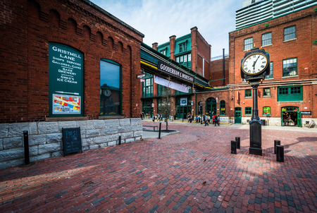 Stone streets and buildings in the Distillery Historic District, In Toronto, Ontario.