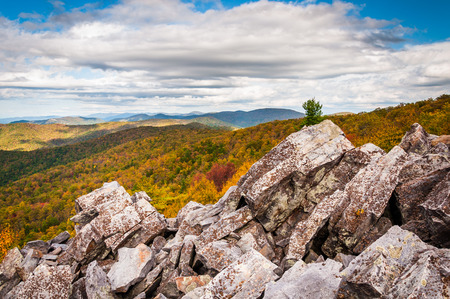 blackrock: Autumn view of the Blue Ridge Mountains from the boulder-covered summit of Blackrock, in Shenandoah National Park, Virginia.