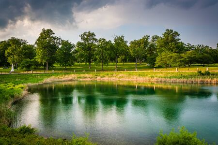 druid: Druid Lake, at Druid Hill Park in Baltimore, Maryland. Stock Photo