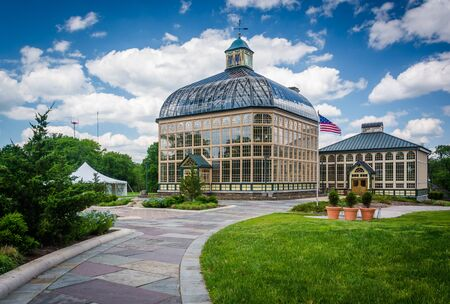 conservatory: Path to the Howard Peters Rawlings Conservatory in Druid Hill Park, Baltimore, Maryland. Stock Photo