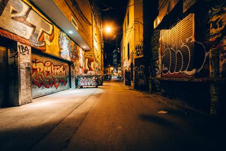 Graffiti Alley 's nachts, in het Fashion District van Toronto, Ontario.