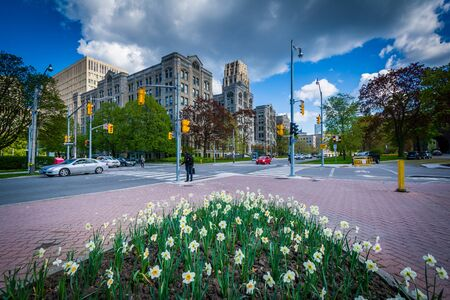 Garden at Queens Park, and the intersection of Queens Park Crescent and Wellesley Street, in Toronto, Ontario. Stock Photo