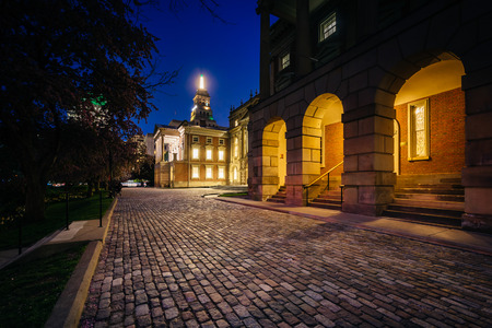 garden city: Osgoode Hall at night, in downtown Toronto, Ontario. Stock Photo
