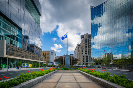 median: Gardens and memorial in the median of University Avenue, and modern buildings in the Discovery District, of Toronto, Ontario.