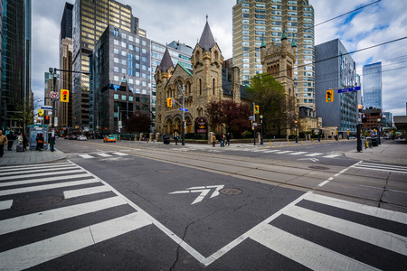 king street: The intersection of King Street West and Simcoe Street, in downtown Toronto, Ontario. Editorial