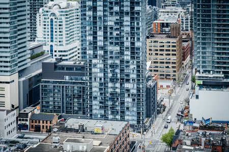 entertainment district: View of buildings along Adelaide Street in the Entertainment District, in downtown Toronto, Ontario. Editorial