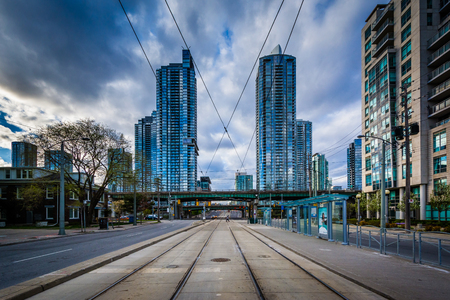 streetcar: Streetcar tracks and modern buildings along Spadina Avenue, at the Harbourfront, in Toronto, Ontario.