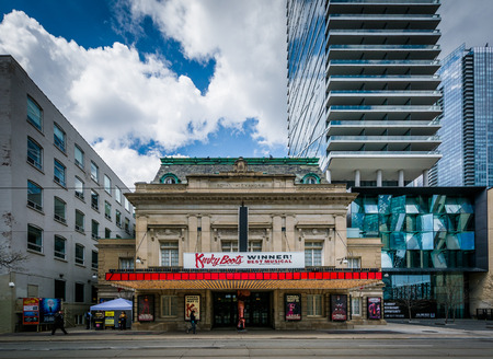 king street: The Royal Alexandra Theatre and modern buildings on King Street, in the Entertainment District, in Toronto, Ontario.