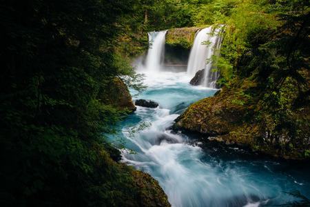 white salmon river: View of Spirit Falls on the Little White Salmon River in the Columbia River Gorge, Washington.