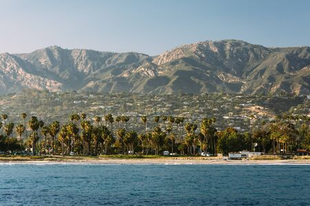 barbara: View of palm trees on the shore and mountains from Stearns Wharf, in Santa Barbara, California.