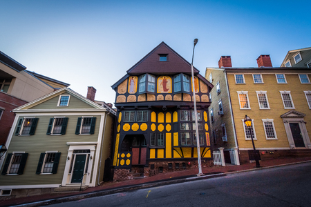 Buildings on a steep hill on Thomas Street, in Providence, Rhode Island.