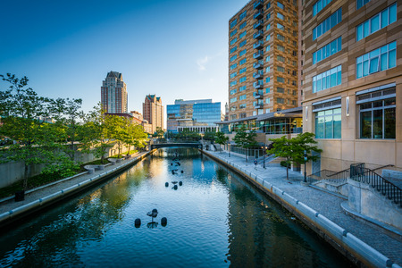 providence: Modern buildings and the Providence River, in downtown Providence, Rhode Island. Stock Photo