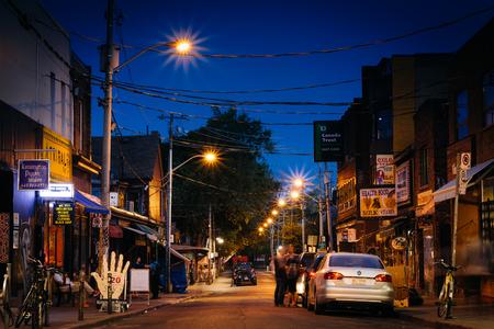 kensington: Kensington Avenue at night, in Kensington Market, in Toronto, Ontario. Editorial