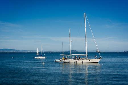 san francisco bay: Boats in San Francisco Bay, in Sausalito, California. Stock Photo