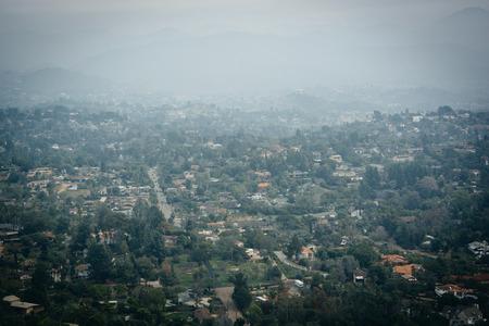 hazy: Hazy view from Mount Helix, in La Mesa, California. Stock Photo
