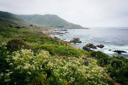 ocean state: View of the Pacific Ocean and   mountains at Garrapata State Park, California.