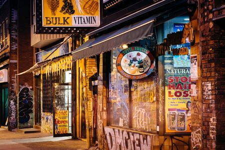 kensington: Businesses on Kensington Avenue, in Kensington Market, in Toronto, Ontario. Editorial
