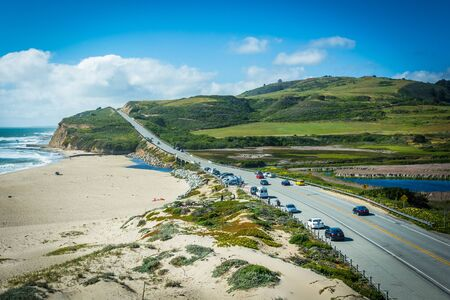 davenport: View of Cabrillo Highway and Waddell Beach, in Davenport, California.