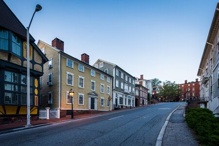 providence: Thomas Street, in College Hill, Providence, Rhode Island. Stock Photo
