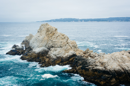 rocky point: View of rocky coast at Point Lobos State Natural Reserve, in Carmel, California.