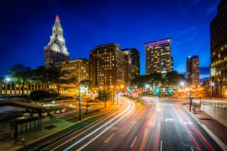 hartford: Pearl Street and modern buildings at night in downtown Hartford, Connecticut. Stock Photo