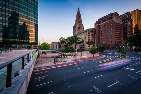 hartford: Pedestrian bridge and buildings along Pearl Street at twilight, in downtown Hartford, Connecticut. Stock Photo