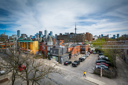 vandal: View of Saint Andrew Street and buildings in the Kensington Market neighbourhood of Toronto, Ontario.